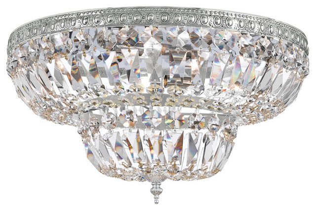 4-Light Ceiling Mount, Polished Chrome, Clear Hand Cut Crystal.