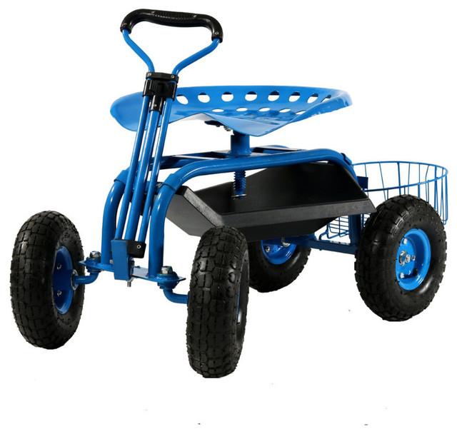 Sunnydaze Blue Rolling Garden Cart With Handle Swivel And Planter Basket