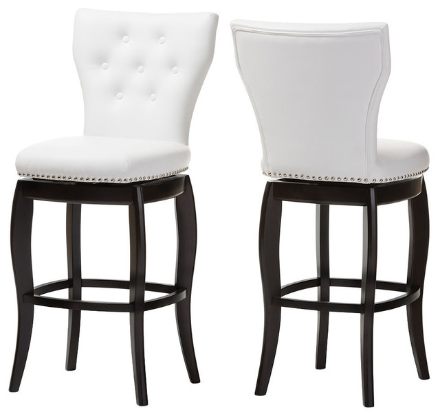 Leonice Faux Leather Button Tufted Swivel Bar Stools Set