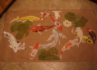 Koi pond table gog for Koi fish pool table