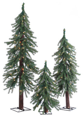 Pre-Lit Alpine Trees With Clear Lights, Set of 3