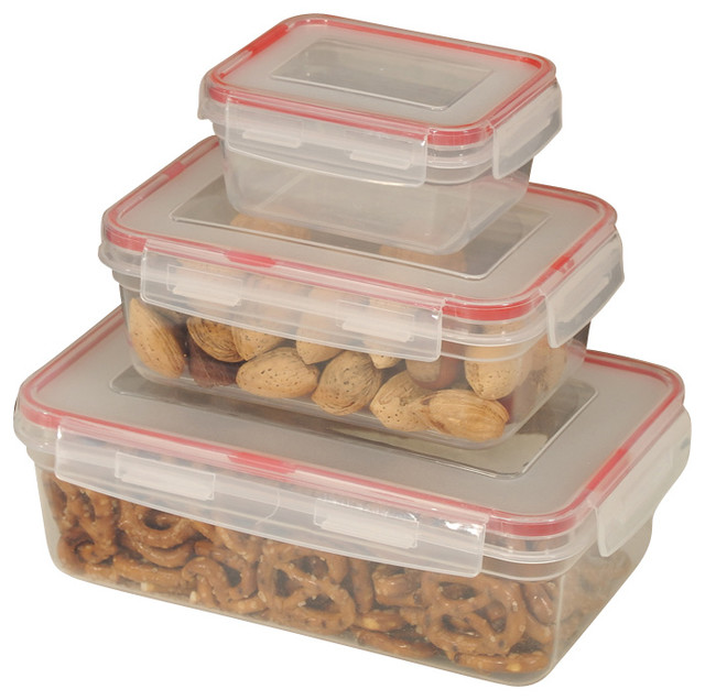 Food Container 6 Piece Lock Seal With Square Cover Contemporary Storage Containers