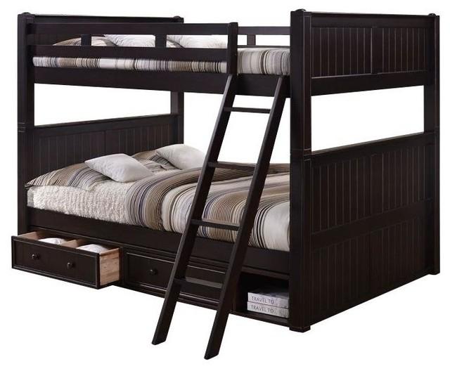 Foster Queen Over Queen Bunk Bed With Underbed Storage, Espresso.