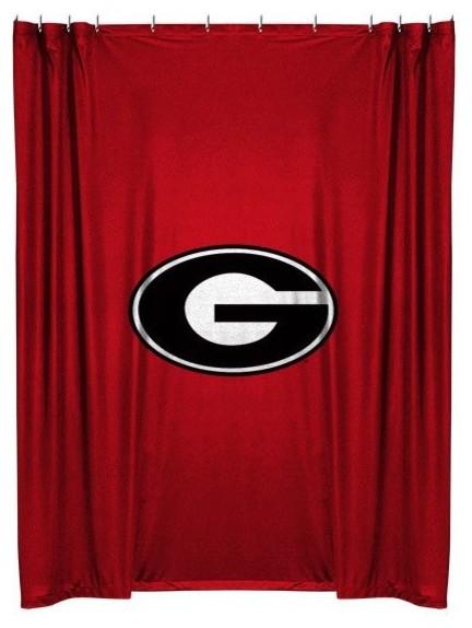 Team Curtains Teamcurtainscom: Georgia Bulldogs Shower Curtain