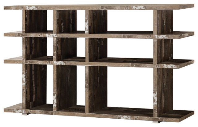 Embellishing Wooden Open Bookcase, Brown.