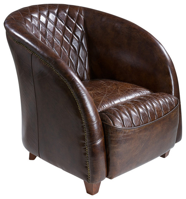 Michele Leather Club Chair Brown Traditional