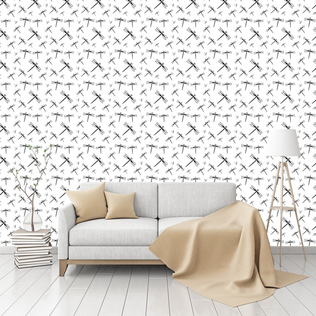 dragonfly swarm patterned peel stick textured wallpaper by contemporary. Black Bedroom Furniture Sets. Home Design Ideas