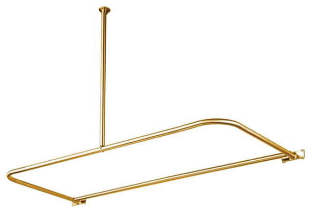 Vintage Style D Type Shower Rod Polished Brass