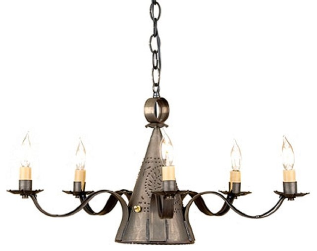 Punched tin candelabra with center down light traditional chandeliers by saving shepherd - Can light chandelier ...