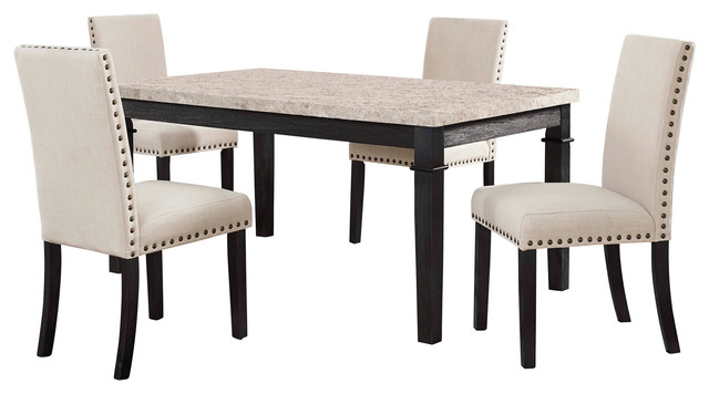 Picket House Furnishings Bradley 5 Piece Dining Set Table 4 Upholstered Chairs Transitional Dining Sets By Picket House