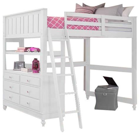 Boardwalk Full Size Loft Bed Transitional Kids Beds By