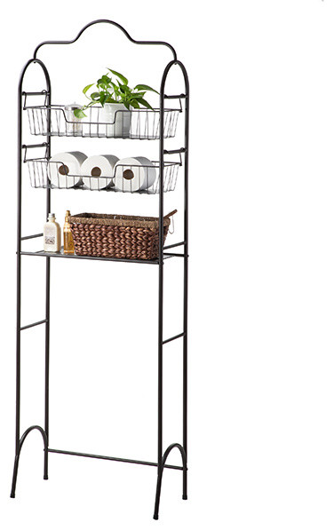Kitchen Over-The-Toilet Storage Rack With Basket Shelving, 3-Tier