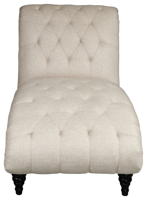 Traditional Rolled Back Chaise Lounger With Beige Diamond Shaped Tufting.