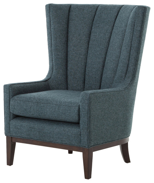 Kensington Channelled Wing Chair, Chess Peacock Transitional Armchairs And  Accent Chairs