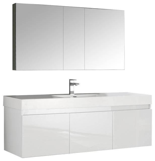 "Mezzo 60"" White Wall Hung Single Sink Modern Bathroom Vanity, Medicine Cabinet."