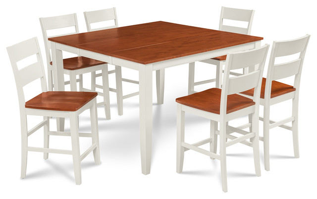 sunderland counter 7 piece dining set with 18 butterfly leaf white