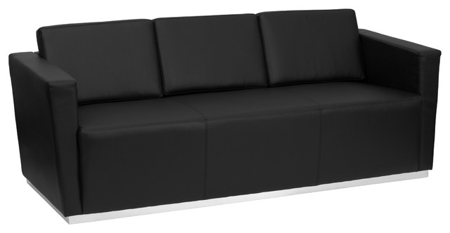Hercules Trinity Contemporary Black Leather Sofa With Stainless