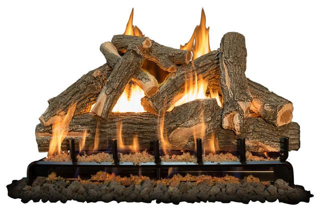 36 Arizona Weatherd Oak Logs, 3-Burner, Propane High Capacity Millivolt, Remote.