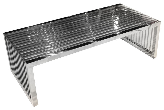 Superb Soho Rectangular Cocktail Table, Stainless Steel