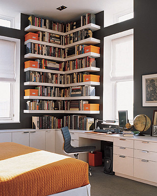 Orange ,White & Grey Home Office eclectic home office