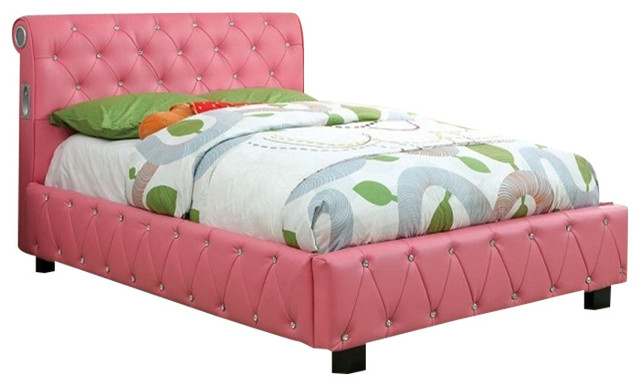 pink sensation twin size bed with decorative bling accents bluetooth speakers