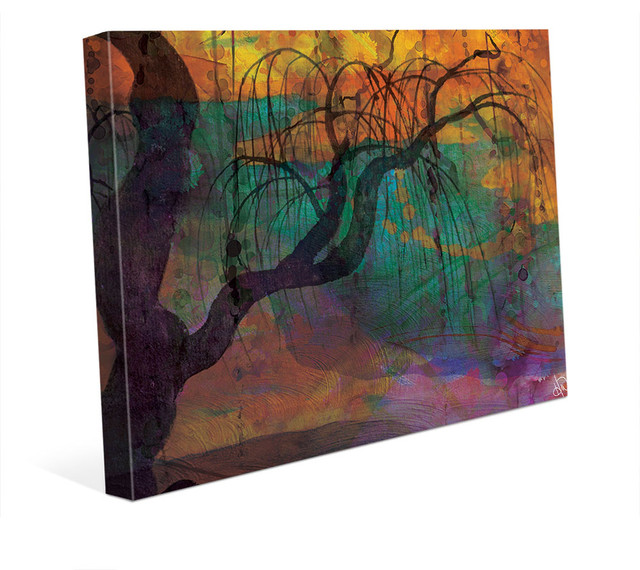 Twilight Willow Tree Somber Abstract Watercolor Wall Art Print ...