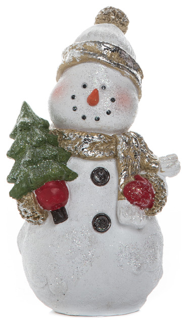 Large Resin Snowman Figurine Contemporary Holiday Accents And Figurines By Transpac