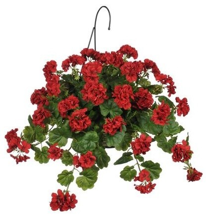 Artificial Red Geranium Hanging Basket Contemporary Flower Arrangements By House Of Silk Flowers Inc