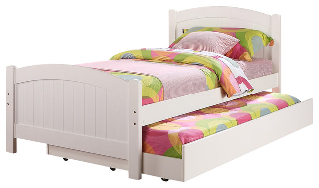 Subtle Curve Cottage Beadboard Paneling White Wood Twin Trundle Bed Day Bed.