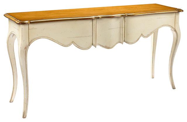 Beau Manet French Country Cherry Wood Ivory Console Table
