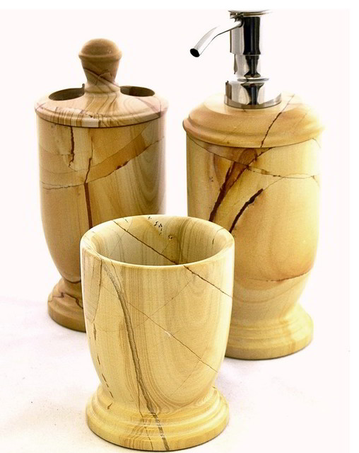 Teak Marble 3 Piece Exotic Bathroom Accessory Set Of Atlantic Collection Contemporary