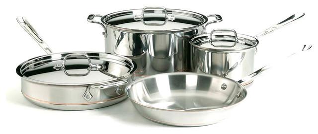 All-Clad Copper Core 7 Piece Cookware Set.