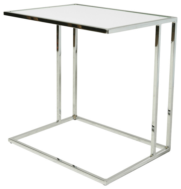 Pastel Side Table ~ Pastel norway end table chrome base white glass top