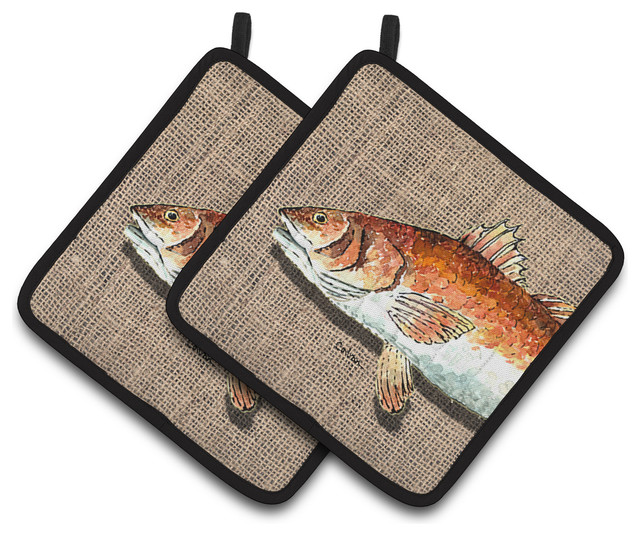 Red Pot Holders: Red Fish Pot Holders, Set Of 2