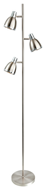 Vogue Contemporary Floor Lamp, Brushed Steel and Chrome