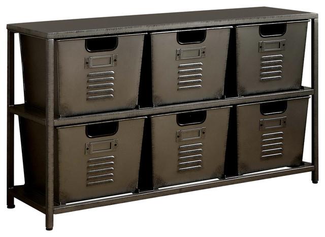 Maurie Industrial Spacious Storage Shelf With Bins, Gun Metal.