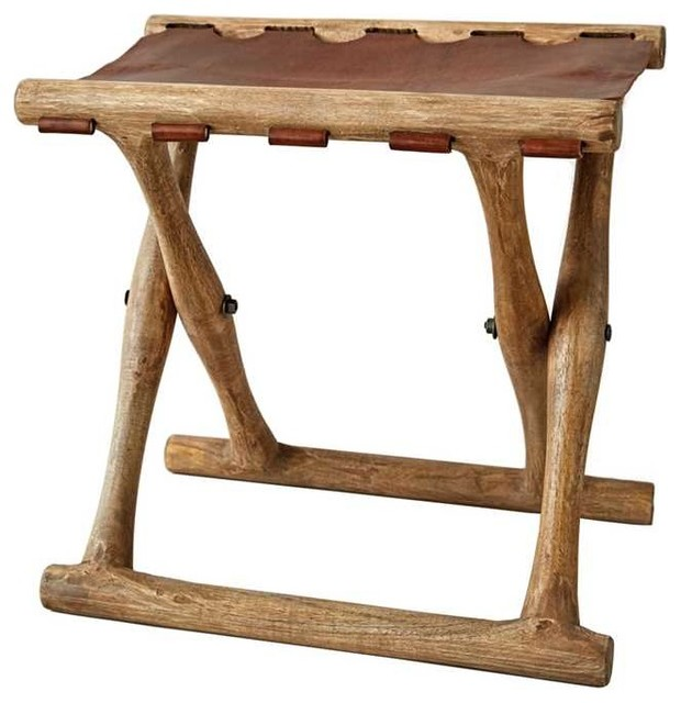 First Of A Kind Mango Wood And Brown Leather Folding Stool