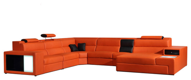 Soflex Dallas Contemporary Orange Faux Leather Corner Sectional Sofa Right