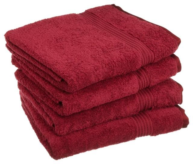 Superior Egyptian Cotton 4pc Burgundy Bath Towel Set