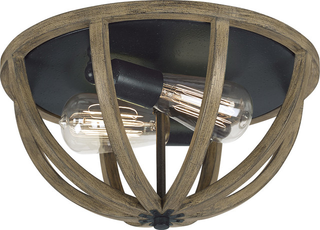 Allier 2-Light Flushmount, Weathered Oak Wood, Antique Forged Iron.