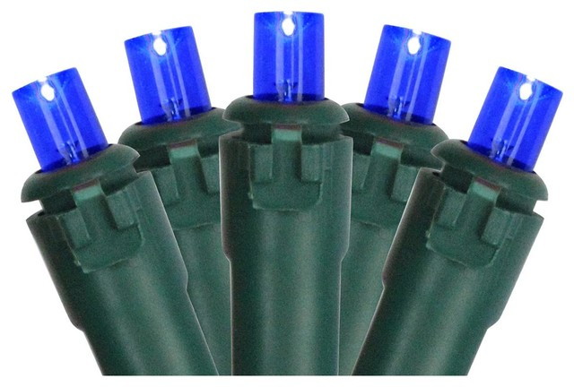 Set Of 50 Blue Led Wide Angle Christmas Lights.