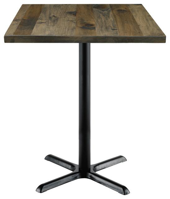 "Kfi Urban Loft 30"" Square Vintage Wood Bistro Table."