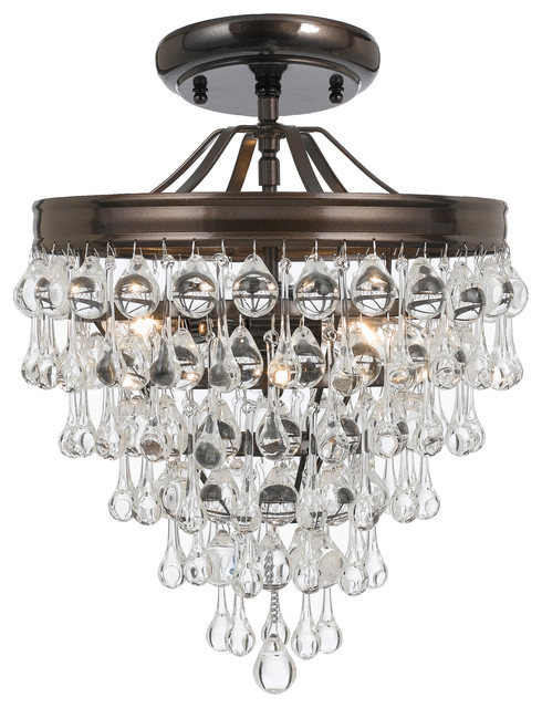 Crystorama Calypso 3-Light Crystal Teardrop Bronze Semi-Flush.