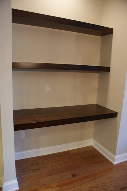 Floating Walnut Shelves Contemporary