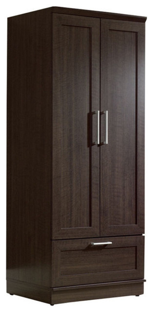 Dark Brown Wood Wardrobe Cabinet Armoire With Garment Rod.