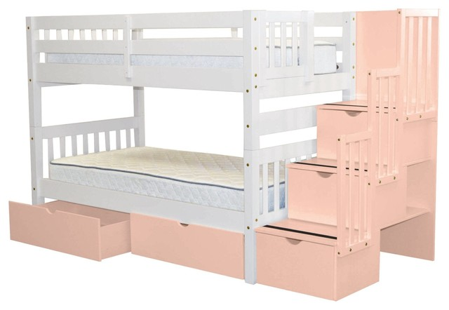 fcac2e50a08200 Bedz King Bunk Beds Twin over Twin Stairway, 3 Pink Steps & 2 Bed Drawers,  White - Transitional - Bunk Beds - by Quality Bunk Beds