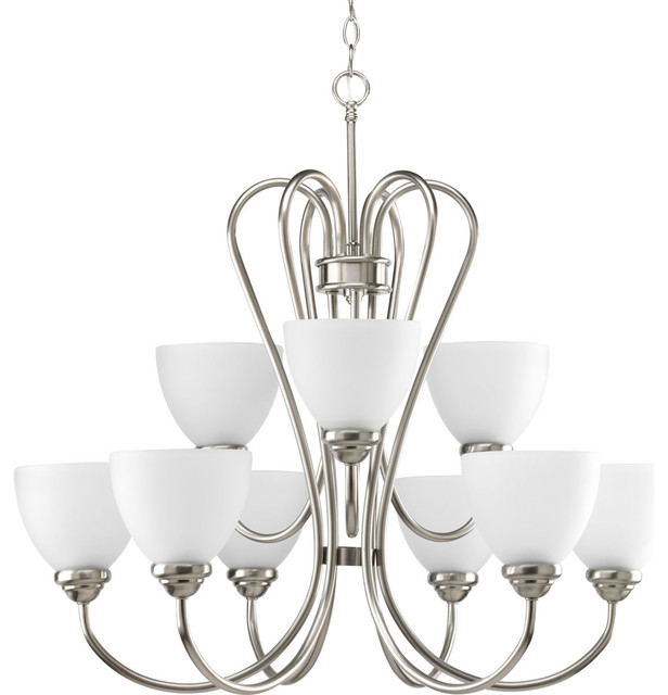 Progress Lighting P4668 Heart Nine Light Two Tier Chandelier With Etched Opal Gl