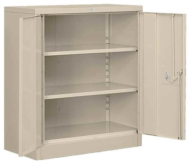 Heavy Duty Counter Height Storage Cabinet In Tan Finish.