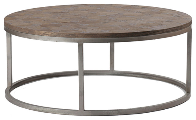 Gabby Colby Parquet Wood Round Coffee Table Contemporary Coffee Tables