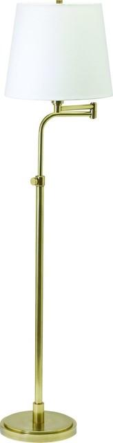 Townhouse Adjustable Swing Arm Floor Lamp, Raw Brass.